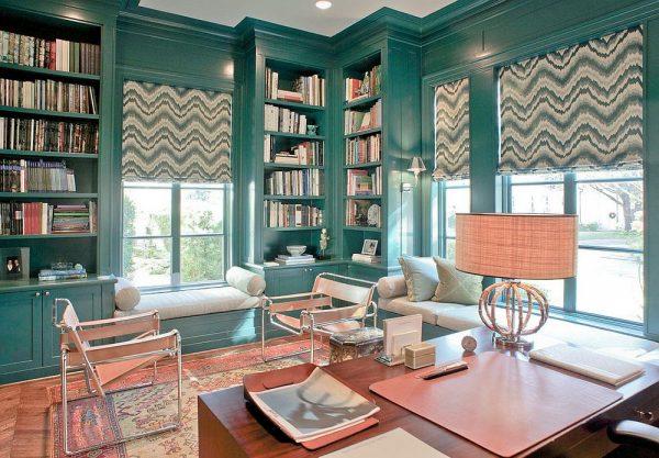 Рабочий кабинет в зелёно-голубом стиле