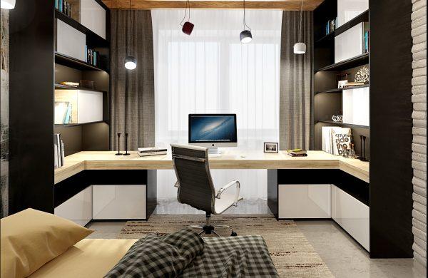 Рабочий кабинет и кровать для гостей