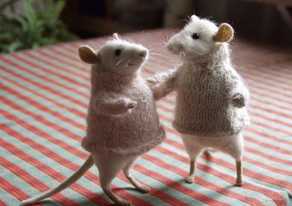 Пара мышей в технике валяния