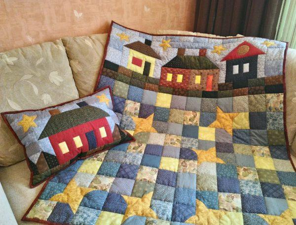 Комплект на кровать с сюжетом в технике пэчворк