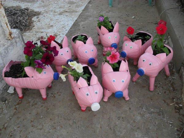Клумбы-свинки для украшения участка