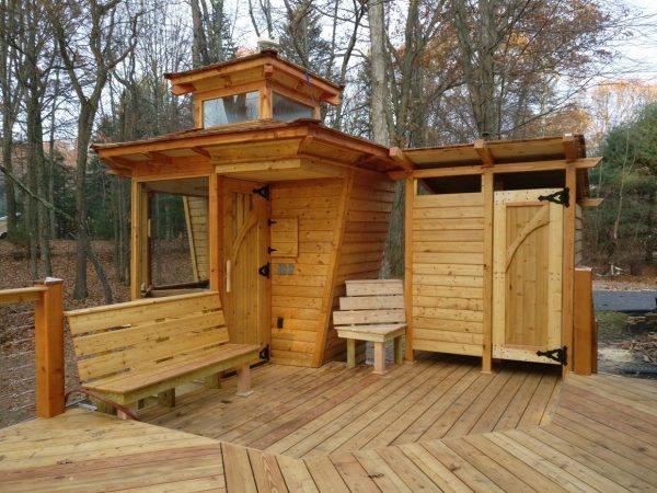 Мини-баня, лавочка и душевая кабинка