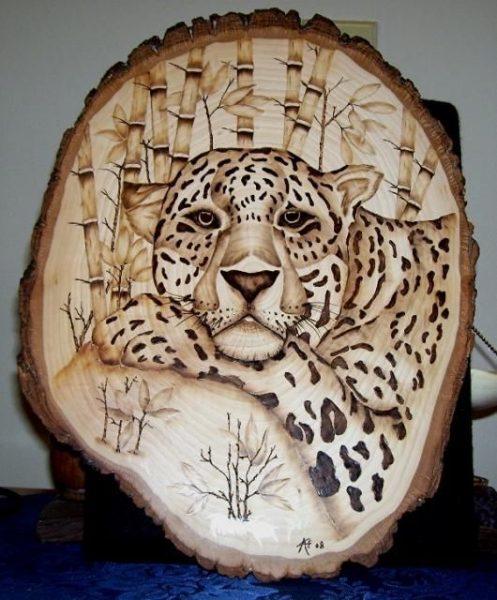 Гепард в технике выжигания по дереву
