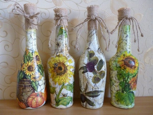 Бутылки в стиле кракелюр
