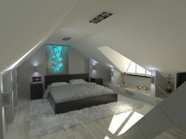 Светлая спальня на чердаке