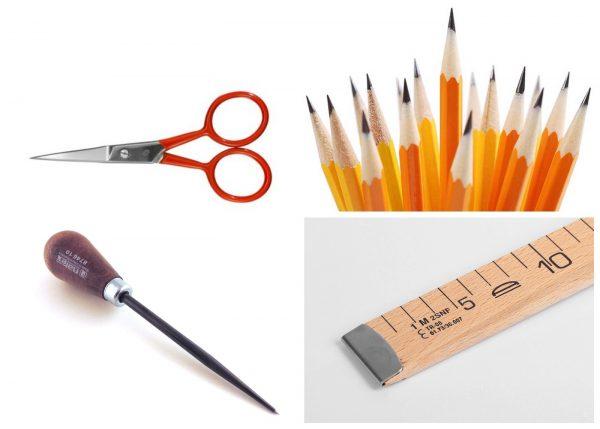Ножницы, простые карандаши, шило и линейка