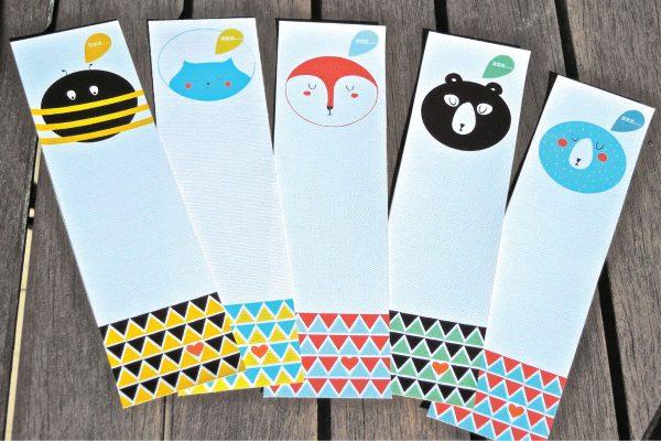 Бумажные закладки со зверятами