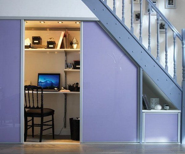 Спрятанный кабинет под лестницей