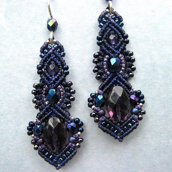 Синие серьги с камнями и бисером