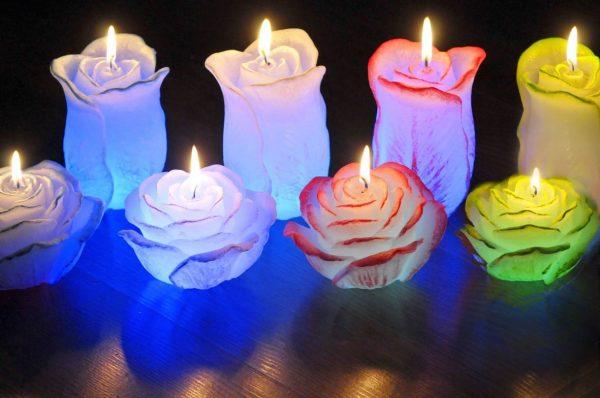 Свечи в виде розы