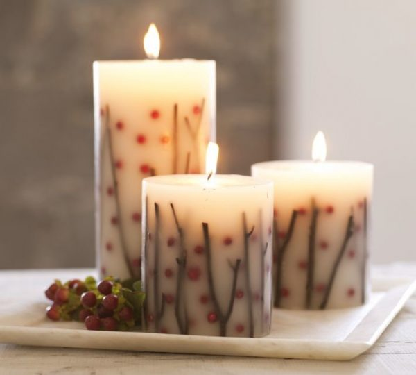 Осенний сюжет на свече