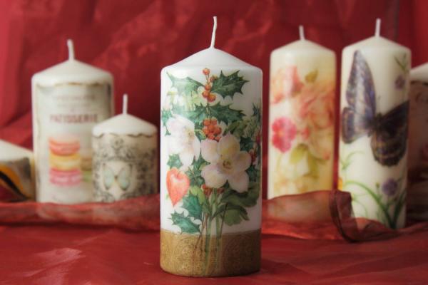 Украшение свечей салфетками