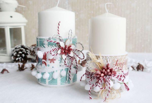 Элементы скрапбукинга в декоре свечей