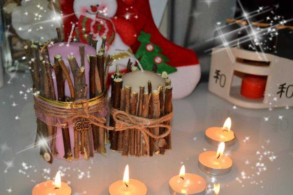 Декор свечей палочками