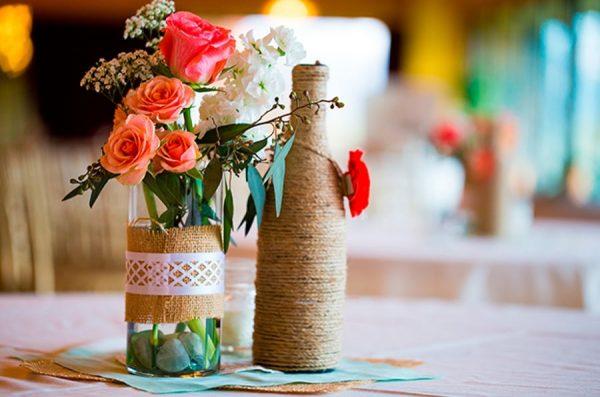 Декорированная бечёвкой ваза