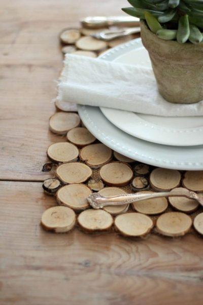 Подставка под горячее из деревянных спилов