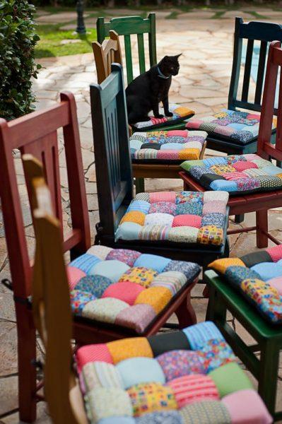 Сиденья на стулья в технике пэчворк