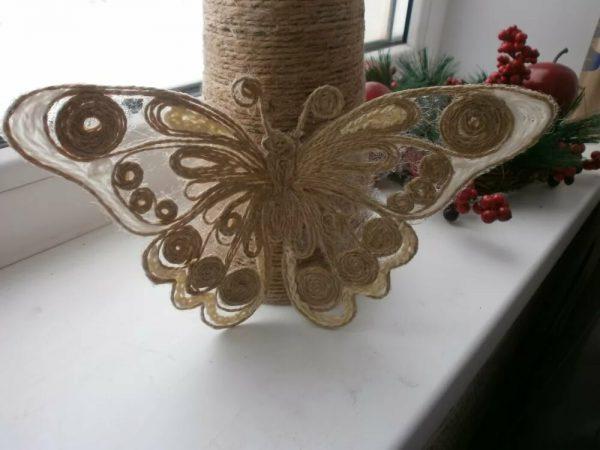 Бабочка из джута