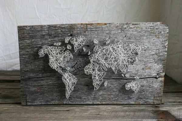 Карта мира в технике стринг-арт