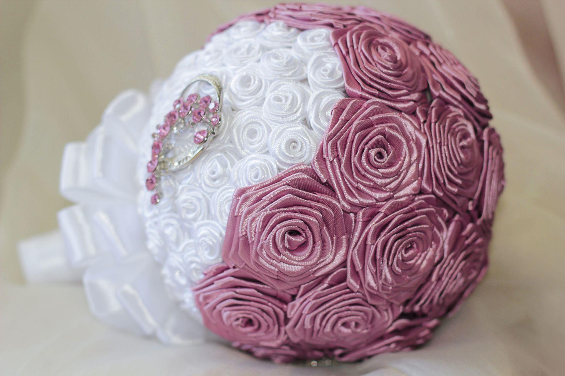 Букет невесты из лент своими руками, цветы оптом