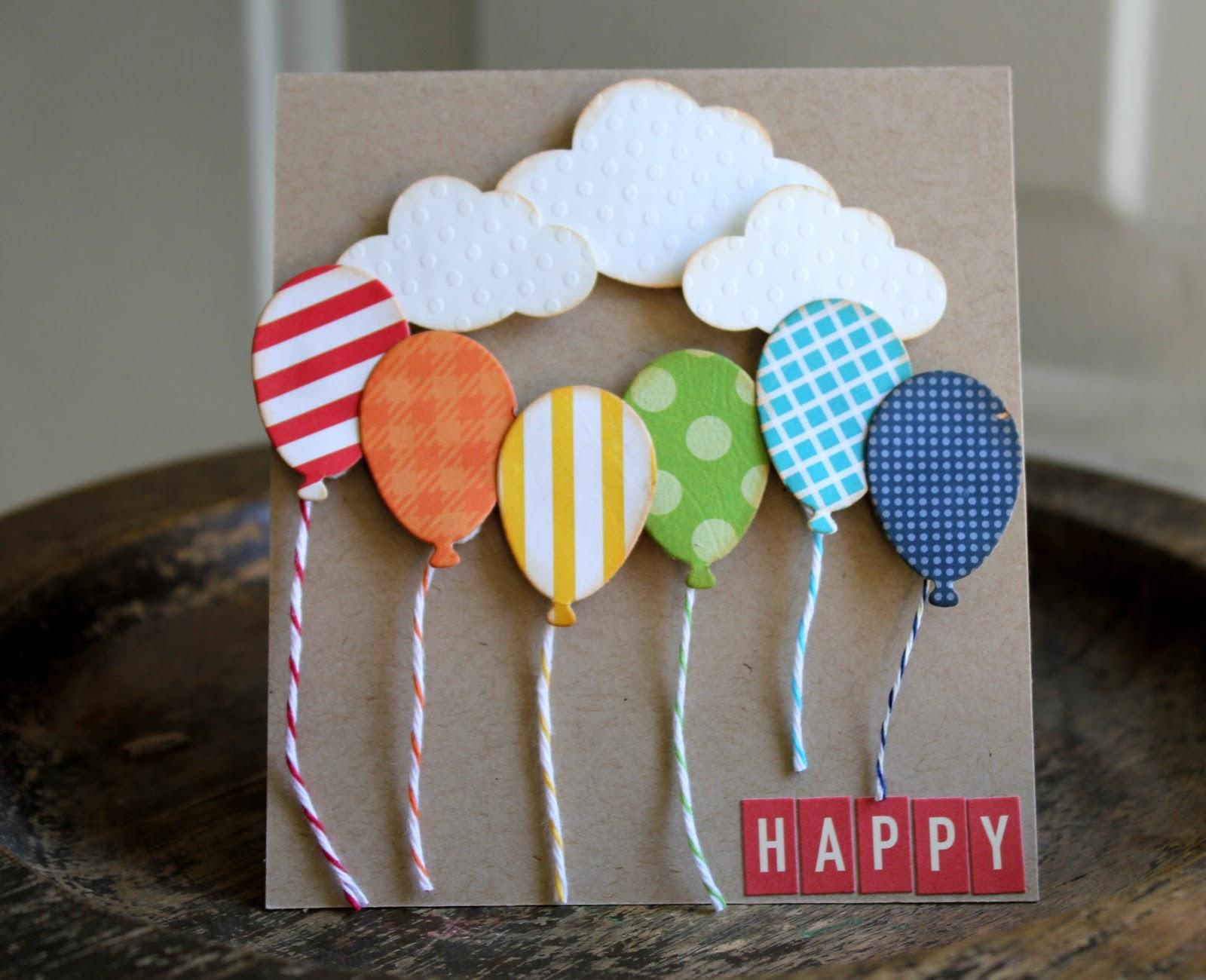 Для поздравления, открытка с днем рождения своими руками с шариками