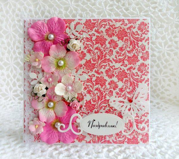 Нежная открытка с цветами
