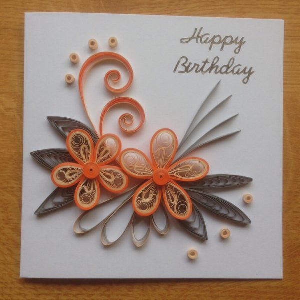 Цветы в технике квиллинг на открытке