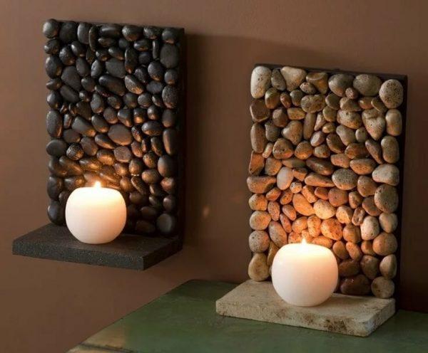 Подсвечники из камушков