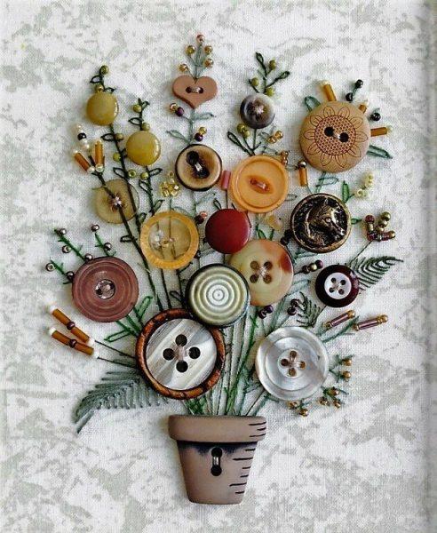 Цветочный букет из пуговиц