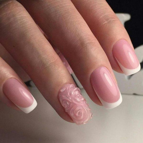 Прозрачный объёмный рисунок на ногтях