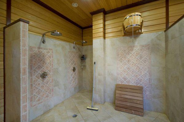 Душевая зона в стиле турецкой бани