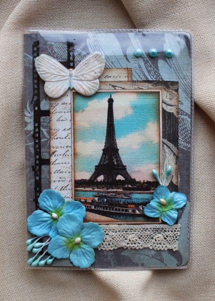 Обложка на паспорт с Эйфелевой башней