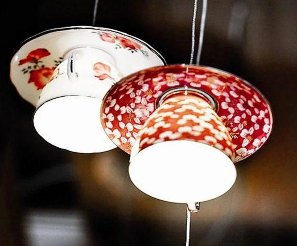 Чайный сервиз в виде светильника