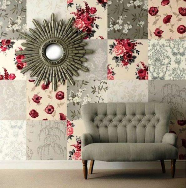 Стена в стиле пэчворк из обоев