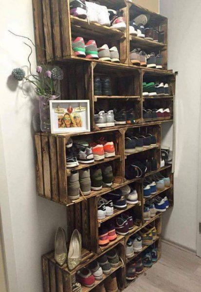 Хранение обуви на полках