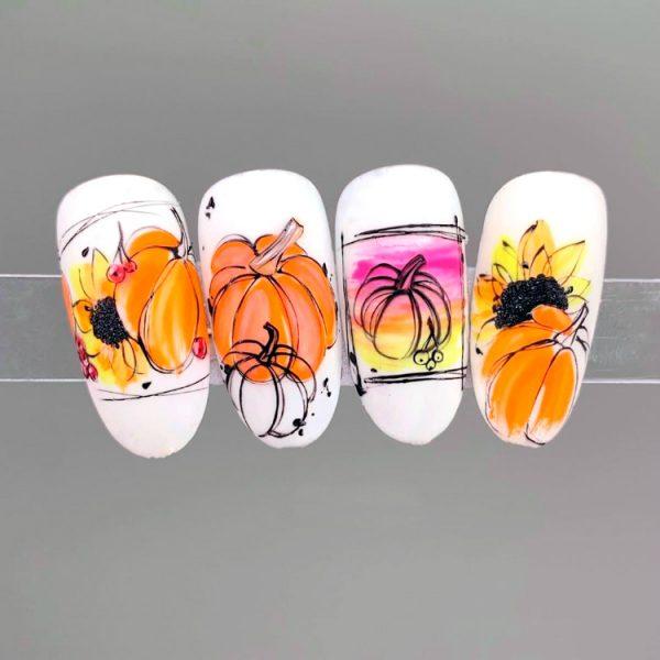Декор ногтей с тыквами