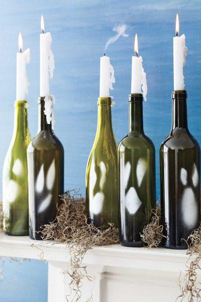 Подсвечники из бутылок