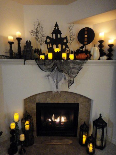 Украшение камина к Хэллоуину