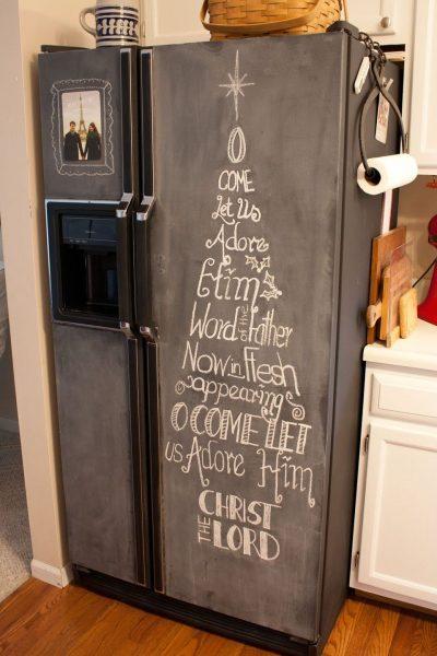 Декор холодильника грифельной краской