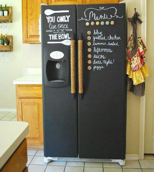 Грифельная краска на холодильнике