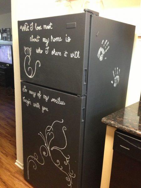 Покрытие холодильника грифельной краской