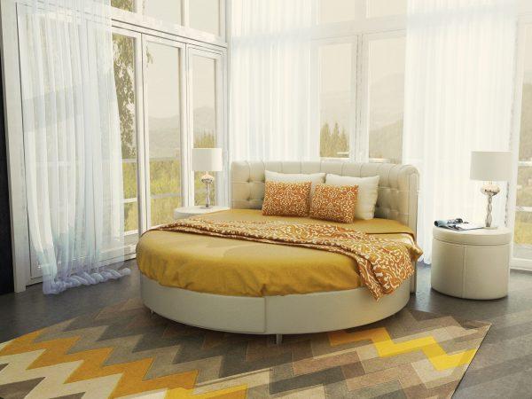 Круглая кровать в интерьере