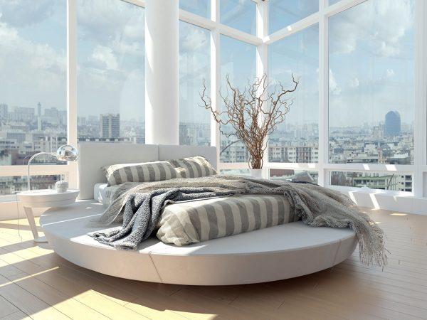 Прямоугольный матрац на круглой кровати